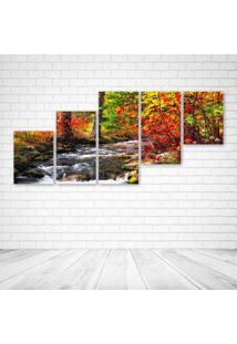 Quadro Decorativo - Forest River Trees Autumn Nature - Composto De 5 Quadros - Multicolorido - Dafiti