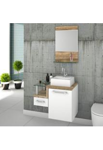 Gabinete Para Banheiro Com Cuba Quadrada Q32 E Espelheira Legno 631W Compace Branco/Carvalho