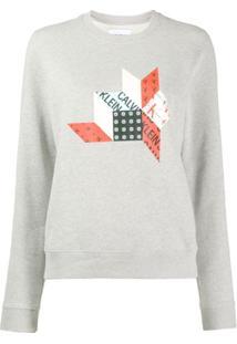 Calvin Klein Jeans Blusa De Moletom Com Logo - Cinza