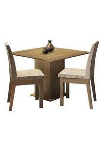 Conjunto Sala De Jantar Madesa Tatá Mesa Tampo De Madeira Com 2 Cadeiras Rustic/Fendi Rustic/Fendi