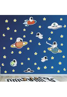 Adesivo De Parede Infantil Espaã§O E Astronauta - Amarelo - Menino - Dafiti