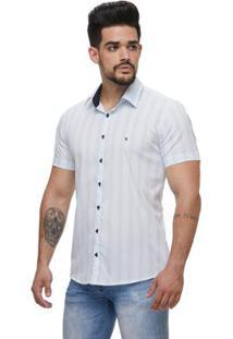 Camisa Zaiko Listrada Gelo Manga Curta Masculina - Masculino-Off White