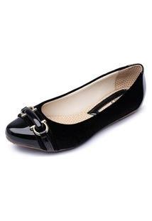 Sapatilha Bico Fino Mr Shoes Confortável 3090 Verniz Preta