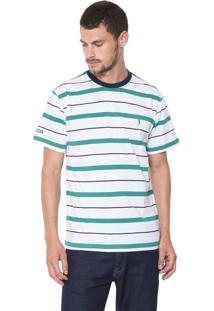 Camiseta Aleatory Listrada Branca/Verde