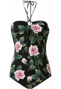 Dolce & Gabbana Maiô Com Estampa Tropical De Rosas - Preto
