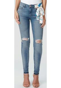 Calça Azul Skinny Destroyed Flex Jeans
