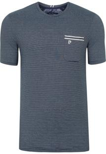 Camiseta Listrada Com Bolso Marinho Inspiration