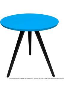 Mesa Lateral De Canto Tripé Laqueada Preta E Azul Turquesa