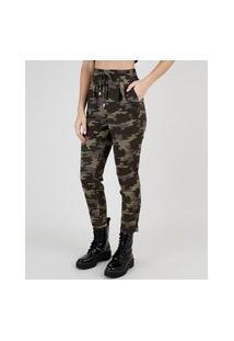 Calça Feminina Cintura Alta Estampada Camuflada Com Cordão E Bolsos Verde Militar