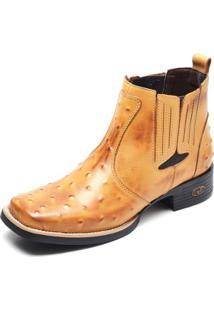 Bota Couro Country Top Franca Shoes Masculino - Masculino-Caramelo