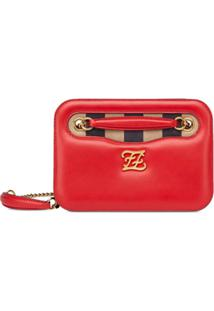 Fendi Karligraphy Pocket Shoulder Bag - Vermelho