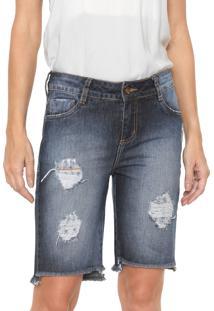 8c48203f4 ... Bermuda Jeans Morena Rosa Reta Destroyed Azul