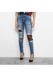 Calça Jeans Skinny Morena Rosa Andreia Barra Assimétrica Meia Arrastão Feminina - Feminino
