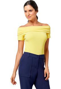 Blusa Mx Fashion De Malha Canelada Sarah Amarela