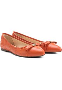 Sapatilha Couro Shoestock Matelassê Bicolor Feminina - Feminino-Laranja
