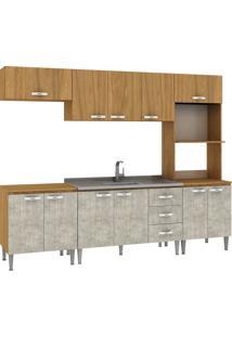 Cozinha Master 5 Peças S/Tampo Nogal/Concreto Fellicci Móveis