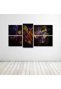 Quadro Decorativo - Psychedelic Cg Digital Art - Composto De 5 Quadros - Multicolorido - Dafiti