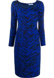 Blumarine Vestido Com Estampa De Zebra - Azul