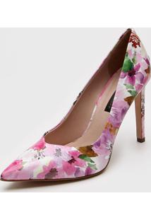 Scarpin Jorge Bischoff Floral Rosa - Rosa - Feminino - Couro - Dafiti