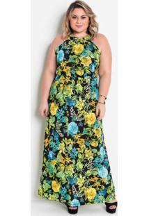 Vestido Longo Trapézio Floral Verde Plus Size