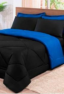 Kit Colcha Elegance Casal Queen + Jogo De Lençol 06 Pçs Aconchego Dupla Face Preto E Azul Cotex