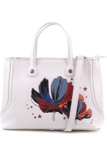 Bolsa Floral Com Recorte- Branca & Azulschutz