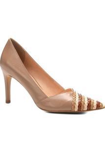 Scarpin Em Couro Com Tranã§Ado- Nude & Marrom- Salto:Shoestock