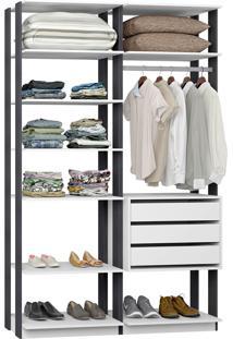Closet Modelado C/ 3 Gavetas E 1 Cabideiro Clothes 9008 – Be Mobiliário - Branco / Espresso