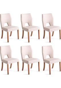 Conjunto Com 6 Cadeiras De Jantar Diamante Branco E Castanho