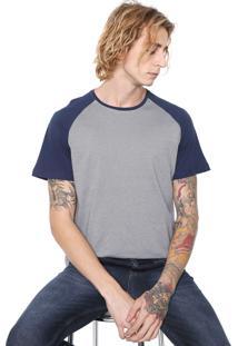 Camiseta Fiveblu Manga Curta Raglan Cinza/Azul-Marinho