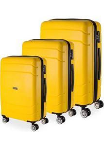 Conjunto 3 Malas De Viagem Londres Em Polipropileno Gosuper Rodinhas Duplas Giro 360º - Unissex-Amarelo