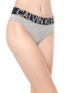 Calcinha Calvin Klein Underwear Tanga Statement Cinza