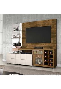 Estante Home Theater Para Tv Até 42 Polegadas 1 Porta 1 Gaveta Com Espelho E Adega 100% Mdf New Turati Demolição/Off White - Dj Móveis