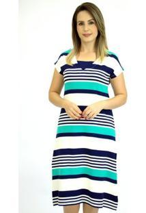 Vestido Pau A Pique Listrado - Feminino-Marinho