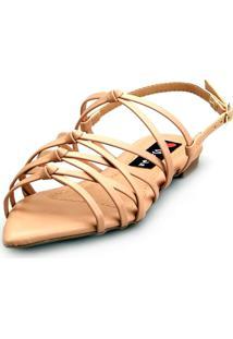 Sandalia Love Shoes Rasteira Bico Folha Trançado Nó - Kanui