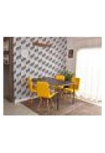 Conjunto De Mesa Dobrável Retrátil 1,40 Preto/Noronha + 4 Cadeiras Gomos - Amarela