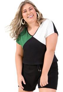 Blusa Feminina Plus Size Rovitex Tricolor Preto/Verde/Branco - G1
