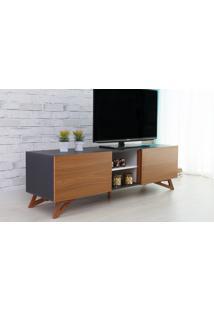 Rack Tv Preto Moderno Vintage Retrô Com 2 Portas Freijó Freddie - 160X43,6X48,5 Cm