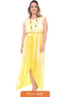 Vestido Tie Dye Longo Plus Size Amarelo
