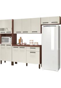 Cozinha Compacta Versalhes Nogueira/Off White 12 Portas 1 Gaveta E Balcão Com Tampo - Kits Paraná
