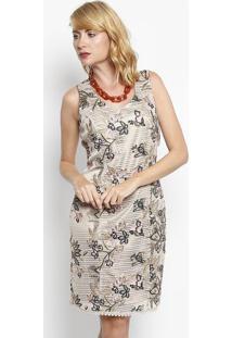 665e92d67 ... Vestido Com Bordados Florais- Bege & Preto- Dress Toênfase