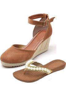 Kit Sandálias Ousy Shoes Anabella Mais Rasteirinha Caramelo - Kanui