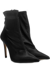 Bota Meia Cano Médio Shoestock Stretch Salto Alto Feminina