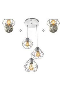 Kit 1 Pendente Triplo + 2 Arandelas Diamante Aramado Cromado