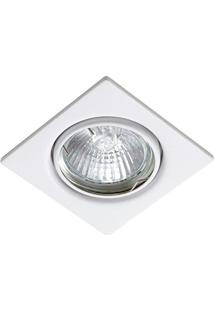 Spot Embutir Dicroica Quadrado Branco Fixo C/ Lâmpada 50W 127V Bronzearte