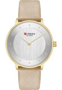 Relógio Curren Analógico C9033L Dourado E Bege