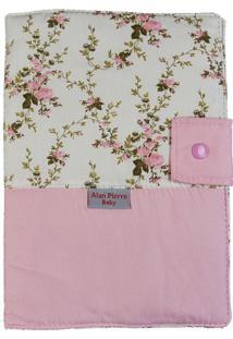Capa Para Cartão De Vacinação - Alan Pierre Baby - Floral Bege Com Rosa Nova