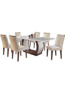 Sala De Jantar Jade 1.80M Com 6 Cadeiras Café/Off White Veludo Creme