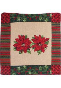 Capa Almofada Flor/Listras Decoraã§Ã£O Natal 45X45Cm Vermelha - Vermelho - Dafiti