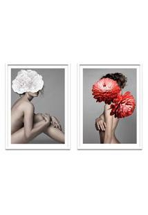 Quadro 67X100Cm Idálina Mulher Com Flores Branca E Vermelha Nórdico Moldura Branca Sem Vidro